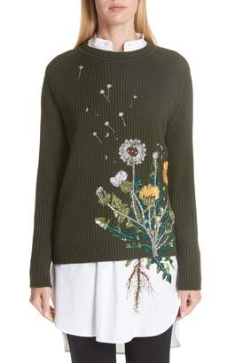 Oscar de la Renta Embellished Dandelion Wool Blend Sweater
