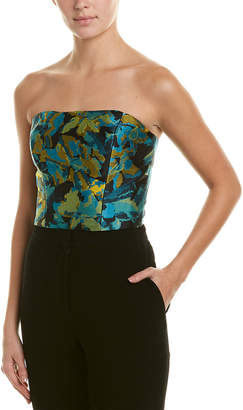 Monique Lhuillier Silk-Lined Crop Top