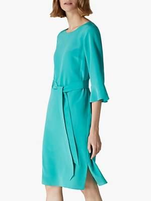 Jaeger Fluted Sleeve Silk Dress, Green