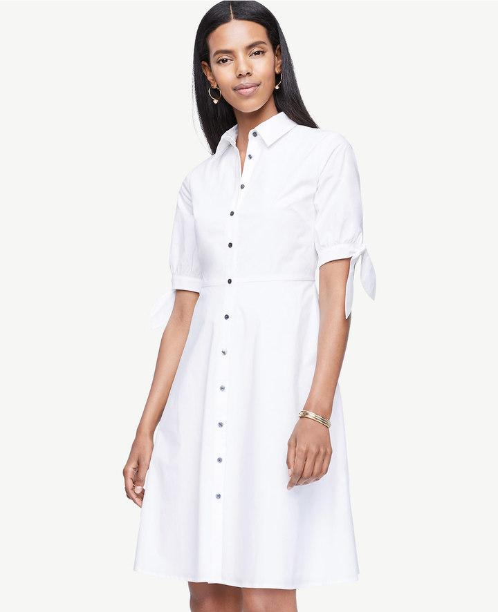 Poplin Tie Sleeve Shirt Dress