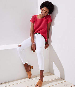 LOFT Modern Destructed Skinny Crop Jeans in White