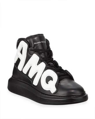 Alexander McQueen Men's High-Top Oversized Graphic Sneaker in Leather