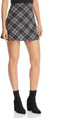 Aqua Flocked Plaid A-Line Mini Skirt - 100% Exclusive