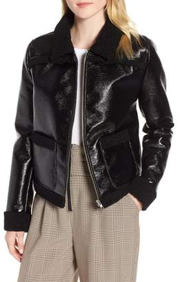 Trouve Faux Patent Leather & Shearling Jacket