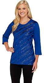 Quacker Factory Diagonal Sequin 3/4 SleeveT-shirt