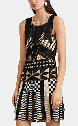 Alberta Ferretti Women's Embellished Tulle Shift Dress - Blk, Wht