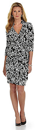 Maggy London Abstract-Print Jersey Wrap Dress
