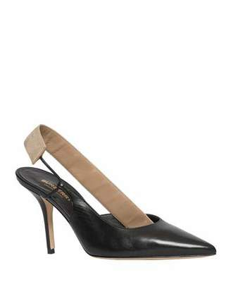 Burberry Maria Two-Tone Asymmetric Slingback Pumps
