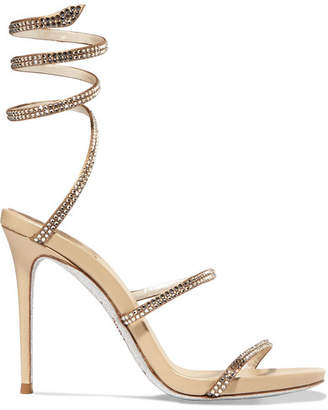 Rene Caovilla Snake Crystal-embellished Satin Sandals - Gold