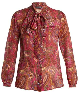 Etro Tiger's Eye Paisley Print Silk Blouse - Womens - Pink Multi