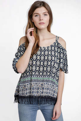 RD Style Mixed Print Tassel Cold Shoulder Top