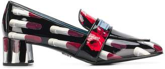 Prada lipstick print mid-heel loafers