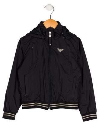 Armani Junior Boys' Hooded Windbreaker Jacket