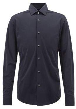 BOSS Hugo Slim-fit shirt in high-performance Italian stretch fabric 14.5 Dark Blue