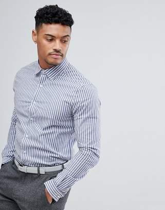 Asos Design DESIGN smart stretch slim poplin stripe shirt
