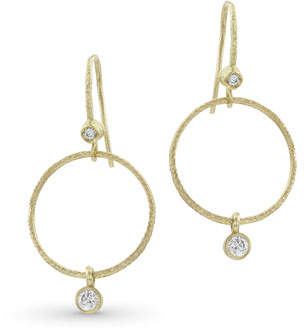 Dominique Cohen Textured 18k Gold Diamond Hoop Drop Earrings