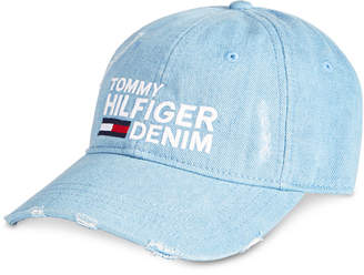 b30f189048acf0 Tommy Hilfiger Men Logo Embroidered Distressed Denim Cap