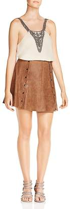 Haute Hippie Heat of the Sun Snap-Detail Suede Mini Skirt
