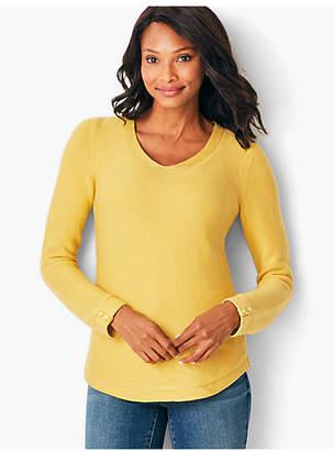 Talbots Link-Stitched V-Neck Sweater - Solid