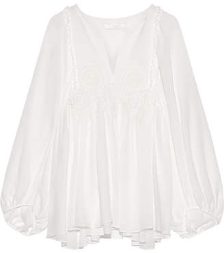 Chloé - Guipure Lace-trimmed Stretch-silk Mousseline Blouse - Ivory