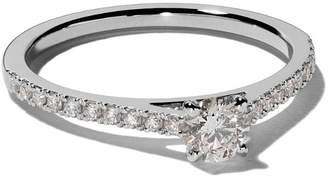 De Beers Platinum My First DB Classic pavé solitaire diamond ring