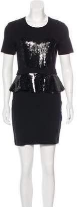 Markus Lupfer Sequined Peplum Dress