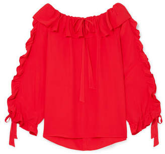 Paul & Joe Ruffled Georgette Blouse - Red