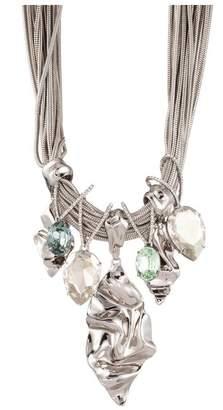 Alexis Bittar Crumpled Rhodium With Oversized Crystal Bib Necklace