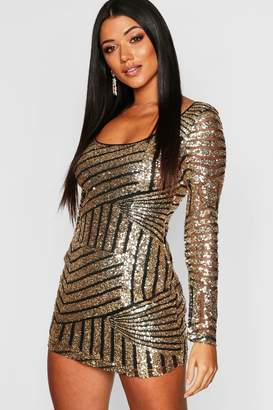boohoo Sequin Mesh Scoop Neck Bodycon Dress