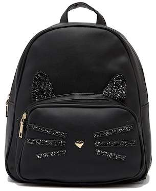 Pink Haley Cat Face Faux Leather Backpack