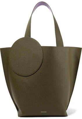 Roksanda Eider Two-tone Textured-leather Tote - Army green