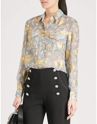 The Kooples Western floral-print silk-muslin shirt