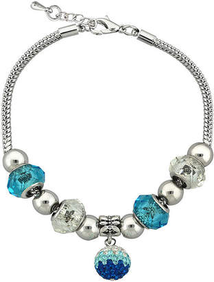 JCPenney DAZZLING DESIGNS Dazzling Designs Teal Glass Bead Silver-Plated Fireball Drop Bracelet