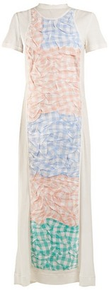 Loewe Crinkled Gingham Panel Dress - Womens - White Multi