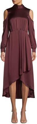 Diane von Furstenberg Mock-Neck Cold-Shoulder Silk High-Low Gown