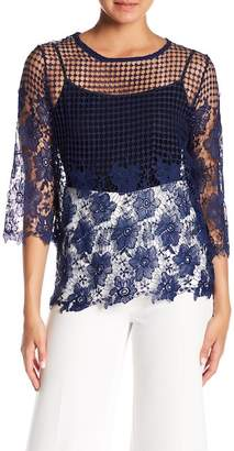 Forgotten Grace Crochet Lace 3/4 Sleeve Blouse