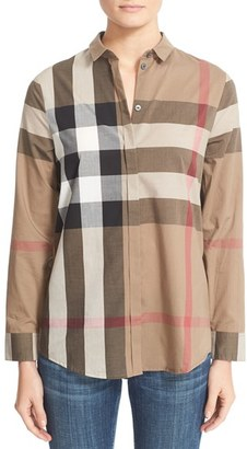 Women's Burberry Check Pattern Cotton Shirt $295 thestylecure.com