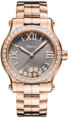 Chopard 18k Rose Gold Diamond Happy Sport Automatic Bracelet Watch