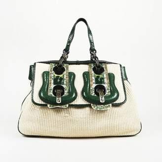 Fendi B Bag Beige Water snake Handbag