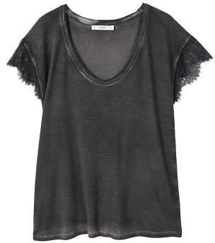 MANGO Lace panel t-shirt