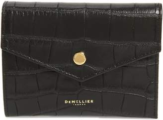 DeMellier Midi Montmartre Croc Embossed Leather Trifold Wallet