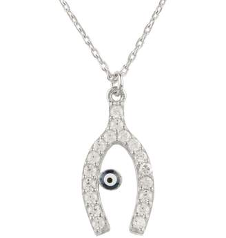 Latelita - Wishbone and Evil Eye Necklace Sterling Silver