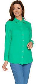 Denim & Co. Denim&Co Regular Linen Blend Long Sleeve ButtonFront Tunic