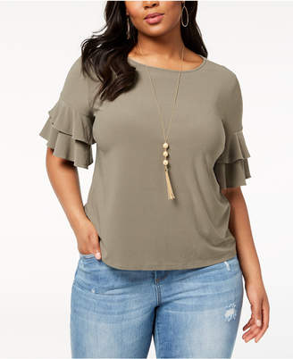 INC International Concepts I.n.c. Plus Size Ruffle-Sleeve Top, Created for Macy's