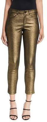 Lafayette 148 New York Mercer Shimmer Stretch Suede Cropped Pants