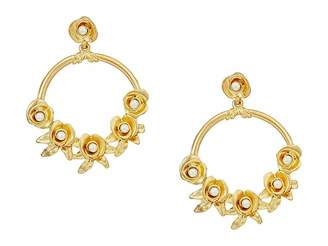 Kenneth Jay Lane Satin Gold w/ Flowers/White Pearl Center Hoop Pierced Earrings