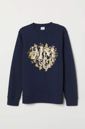H&M Sweatshirt with Motif - Blue
