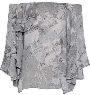 Halston Off-The-Shoulder Printed Silk-Chiffon Top