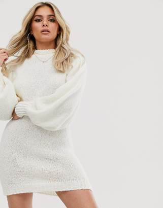 Asos Design DESIGN mini jumper dress in lofty yarn with volume sleeve