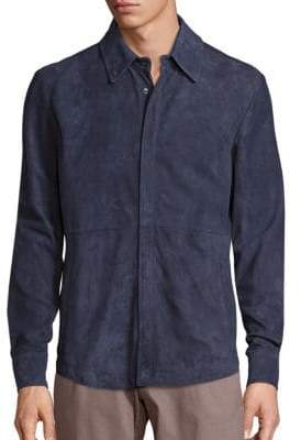 Saks Fifth Avenue COLLECTION Long Sleeve Suede Shirt